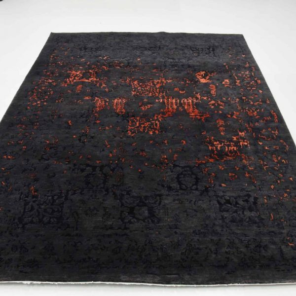 Traditional Distressed Indo-Tibetan Hand Knotted Rug