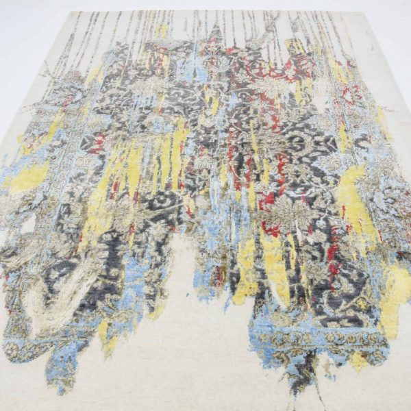 Transitional Abstract Indo-Tibetan Hand Knotted Rug