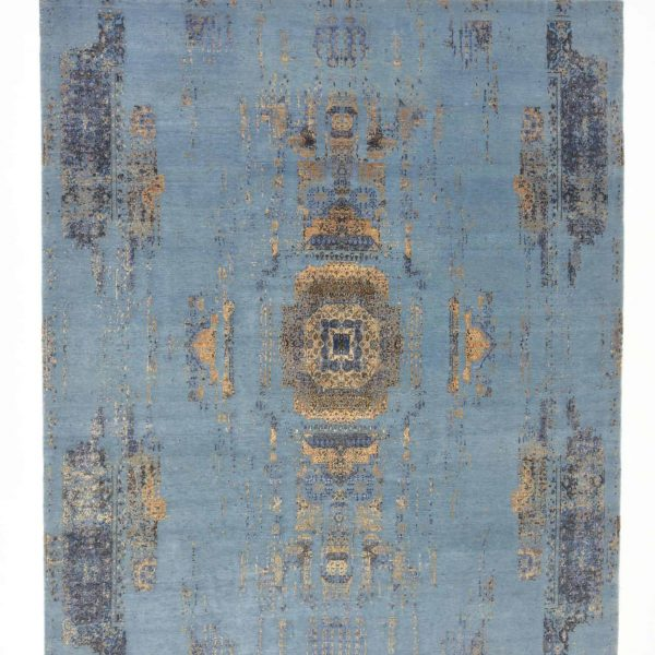 Traditional Erased Indo-Tibetan Hand Knotted Rug