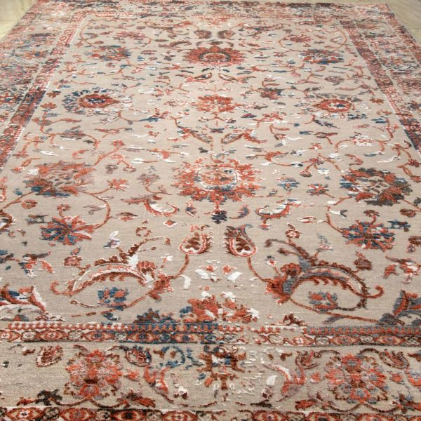 Traditional Erased Persian Hand Knotted Rug
