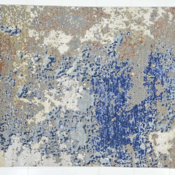 Modern Abstract Indo-Tibetan Hand Knotted Rug